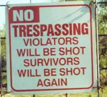 Trespassing.